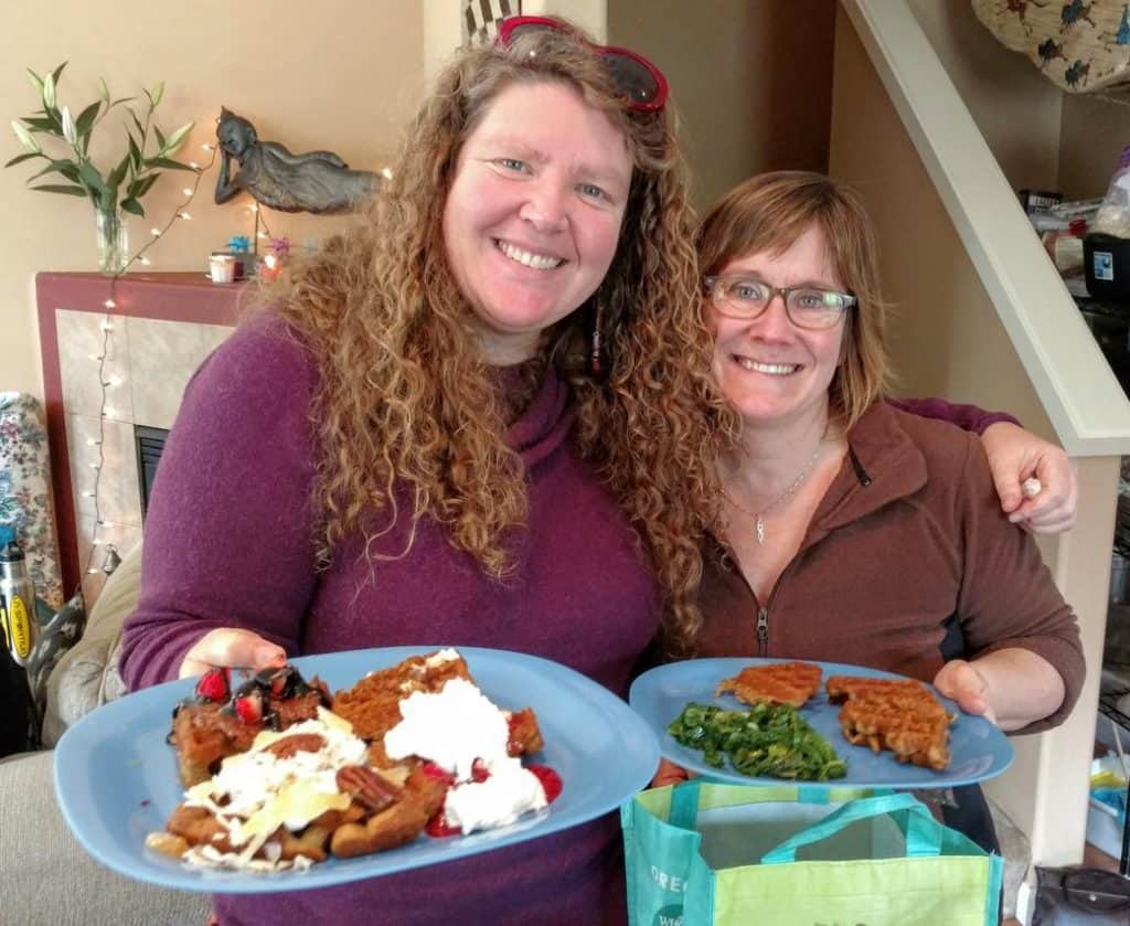 Holli & Brenda with their vegan waffles