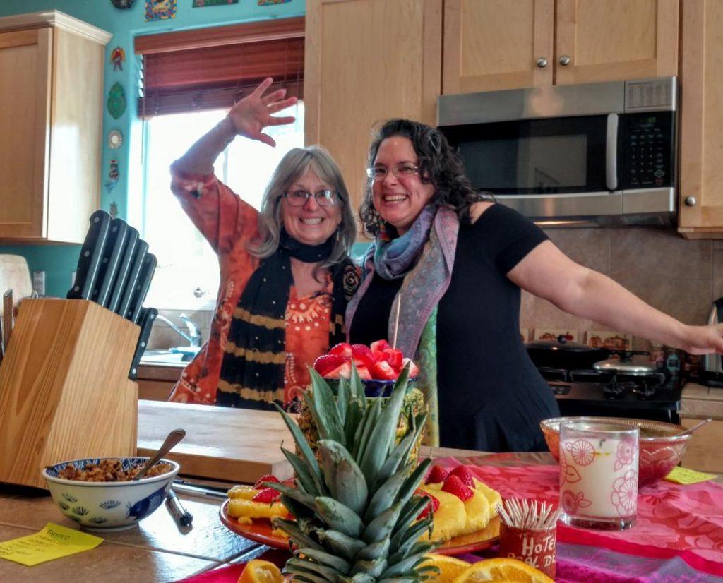 Megan & Sarah before the waffle party