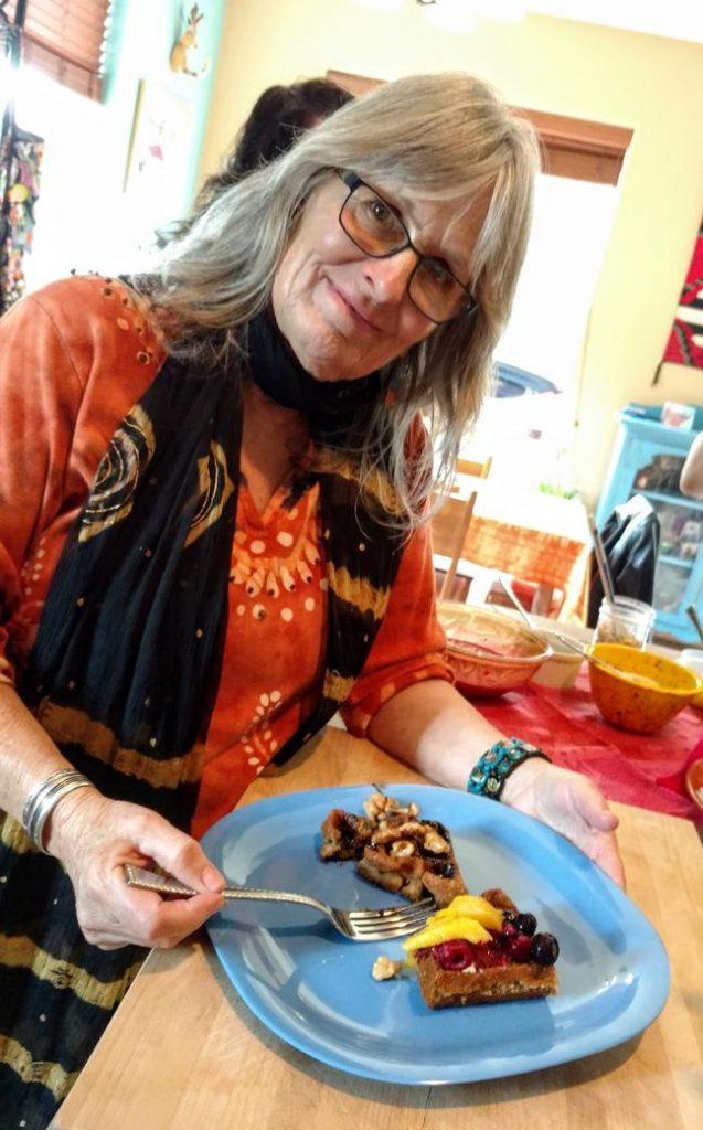 Sarah with a vegan waffle