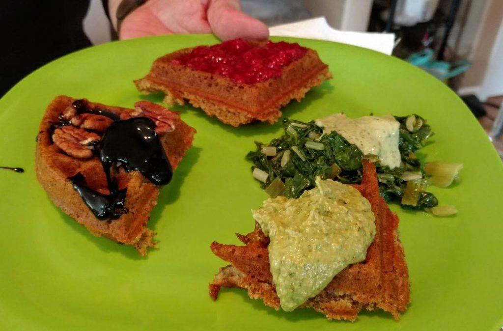 sweet and savory vegan waffles meet