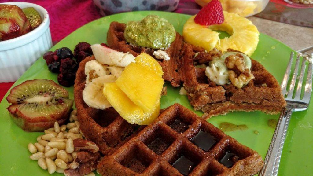 syrupy blend of vegan waffles