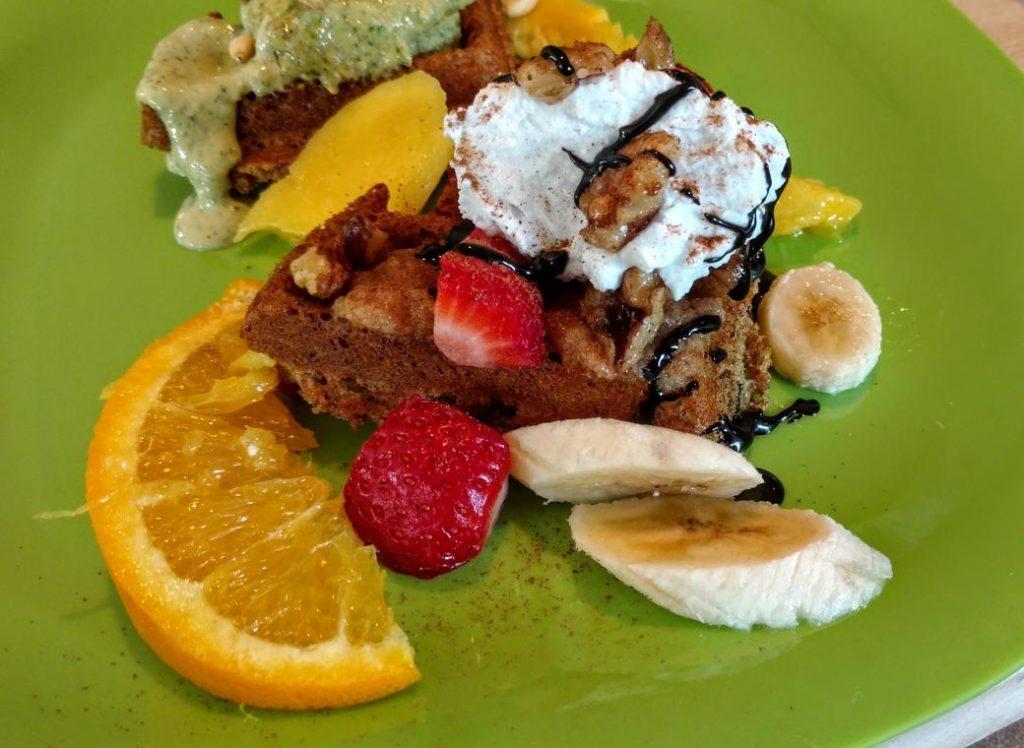 vegan waffle with banana, fruit, & chocolate