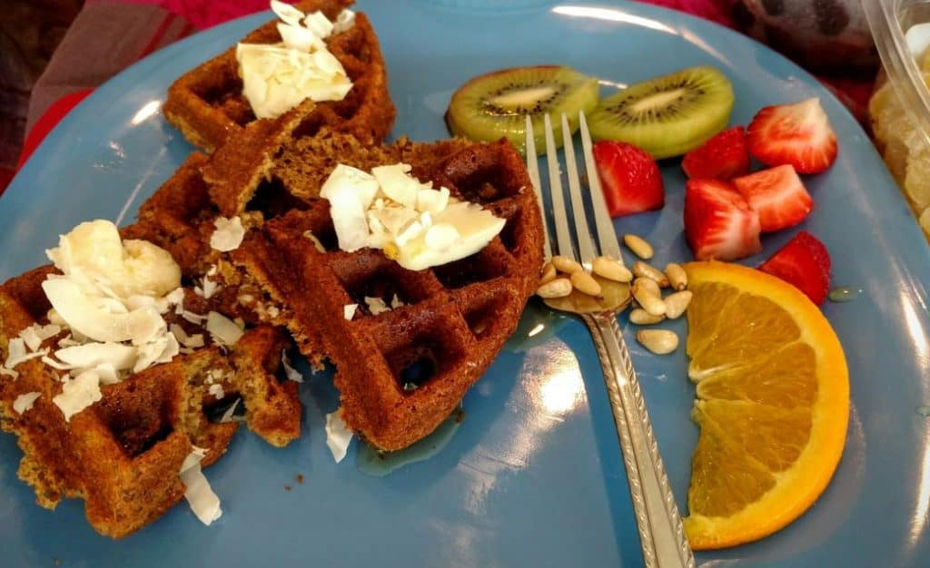 vegan waffles with coconut, kiwi, & strawberry