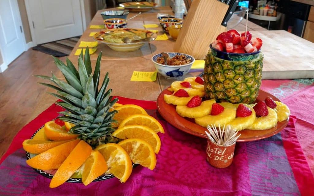 waffle party bar pineapple centerpieces