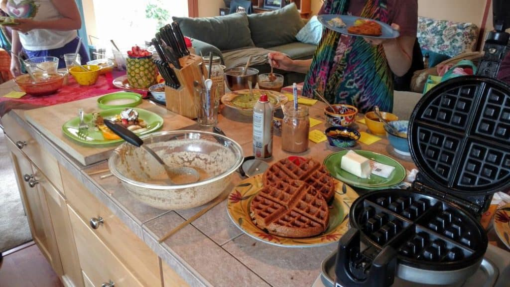 waffle party bar with batter, toppings