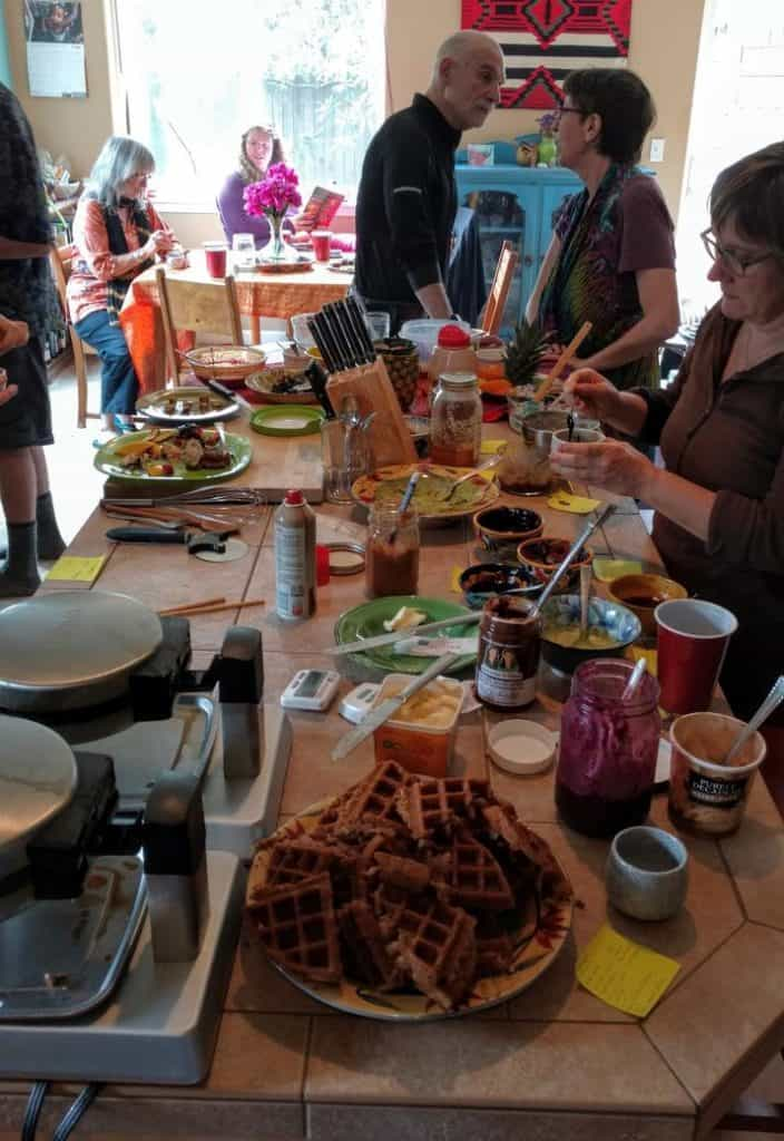 waffle party bar with waffle makers & toppings