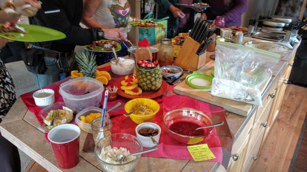 waffle party bar with many toppings