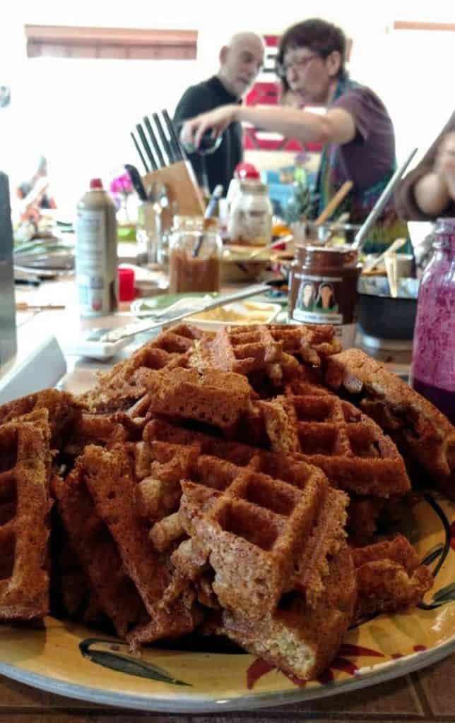 pile of waffles on the waffle party bar, closeup 2
