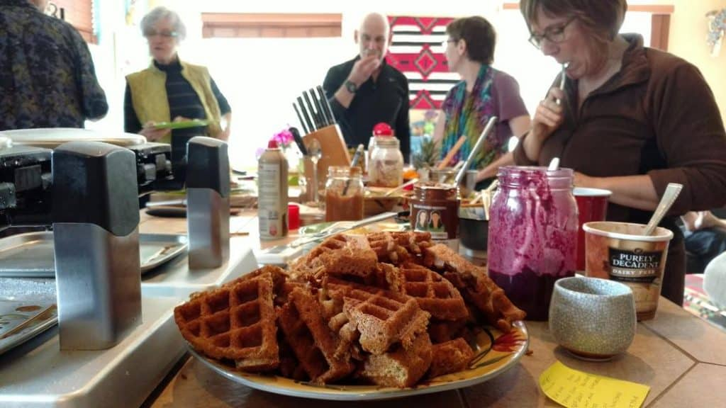 pile of waffles on the waffle party bar, closeup