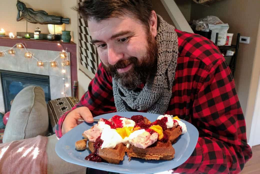 waffle party guest eyes delicious feast