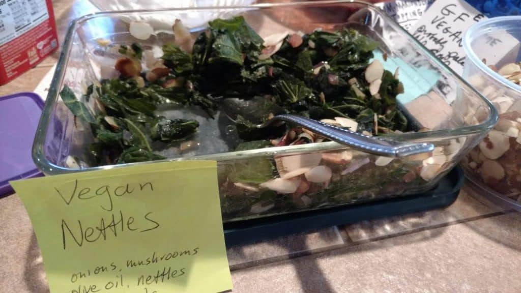 vegan nettles, a savory waffle topping