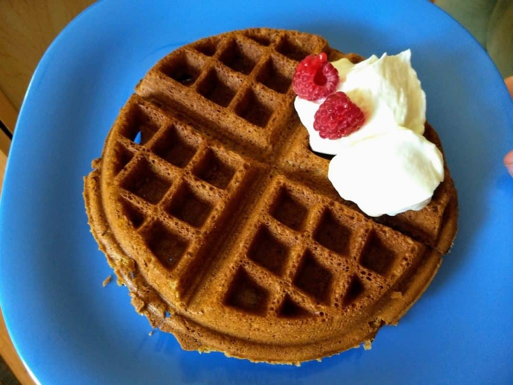 vegan gluten free waffle with coconut cream and raspberries