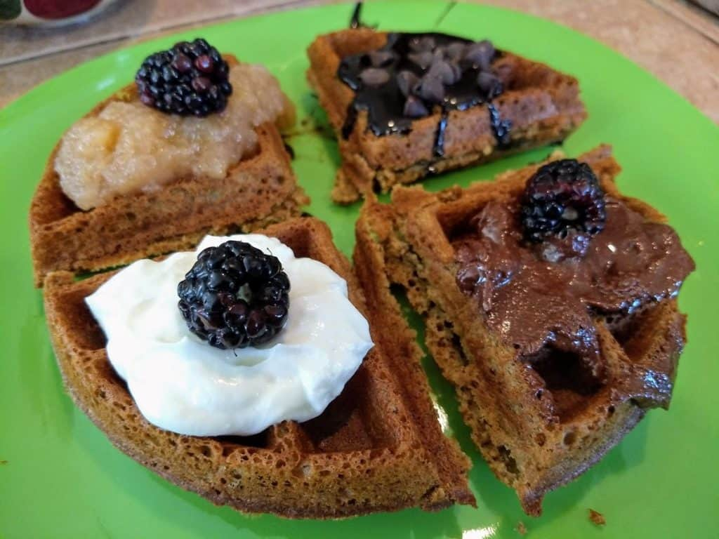 vegan gluten-free waffles with blackberries