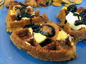 vegan waffles with vegan margarine, chocolate syrup, applesauce