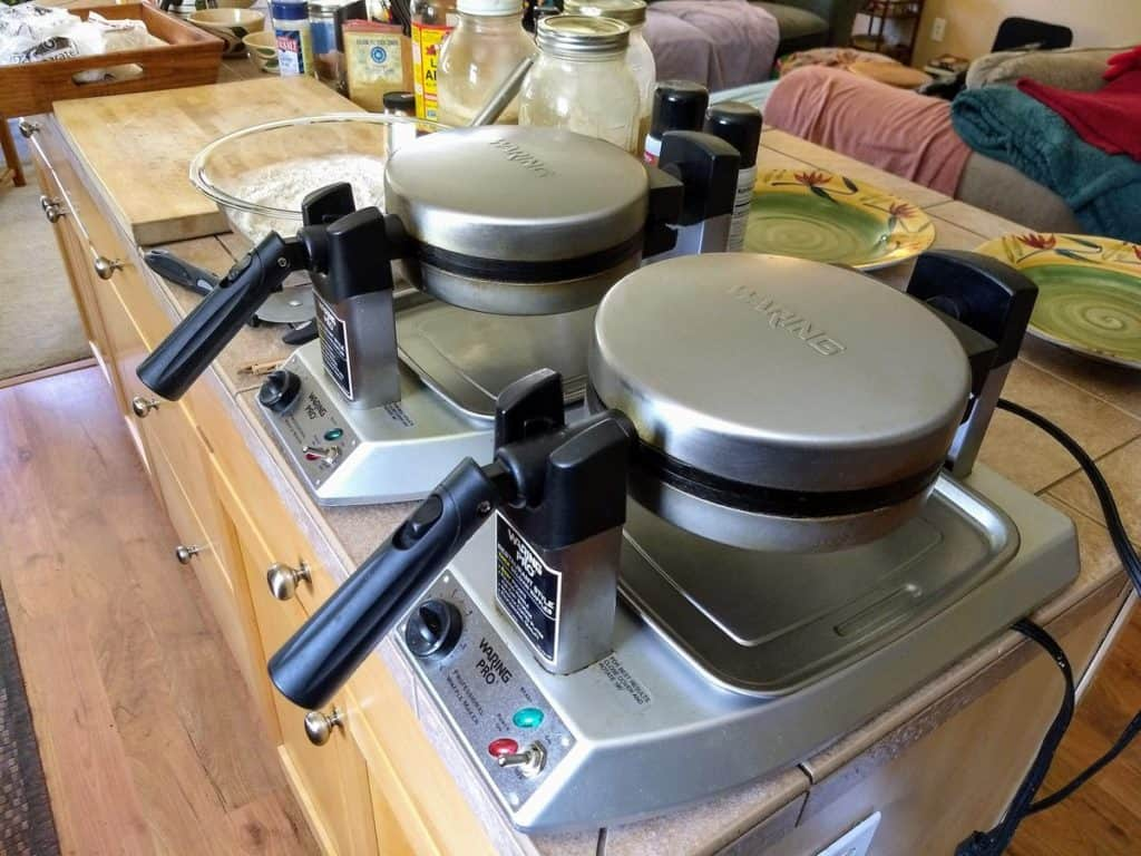 waffle makers side by side for vegan waffle party