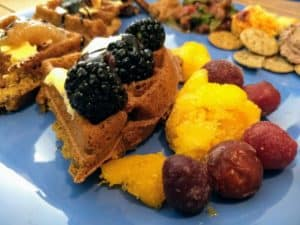 waffle party 12 vegan waffles with toppings: mango, cherries, blackberries