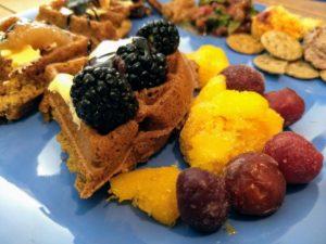 waffle party 12 vegan waffles with toppings: mango, cherries, blackberries
