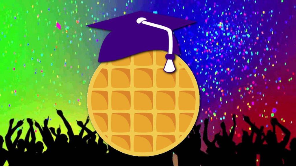 vegan waffle with graduation cap