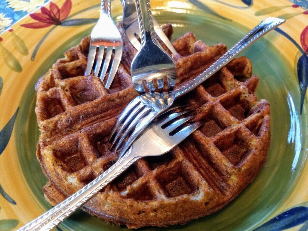 banana gluten free vegan waffle with forks