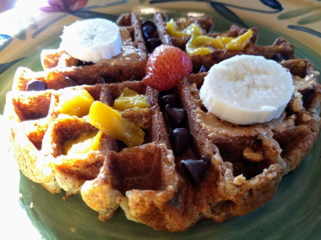 gluten free vegan waffle chocolate chips banana
