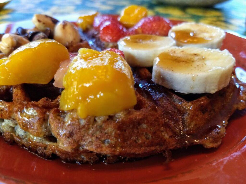 gluten free vegan waffle juicy mango banana