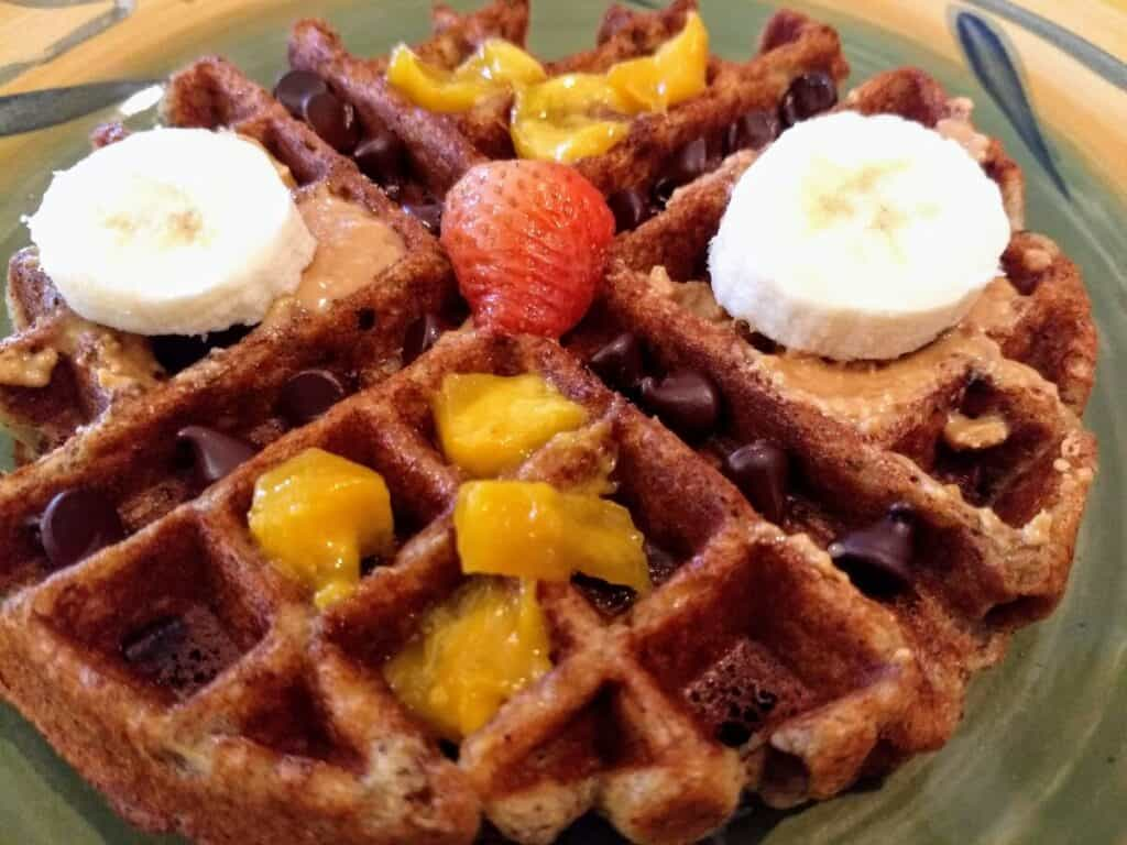 gluten free vegan waffle mango chocolate strawberry banana