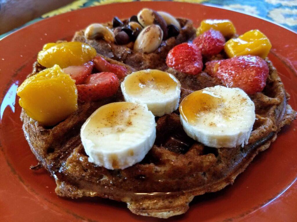 vegan waffle bananas strawberries mango nuts