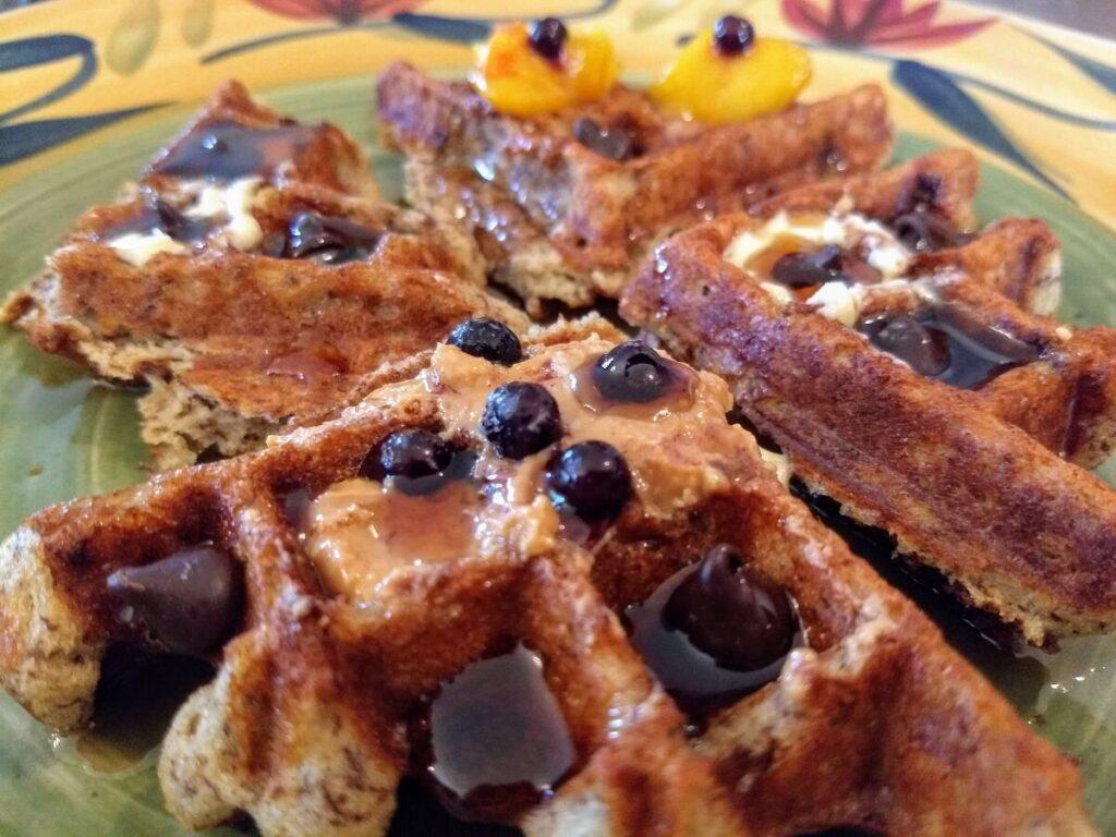 vegan waffle blueberries maple syrup 1