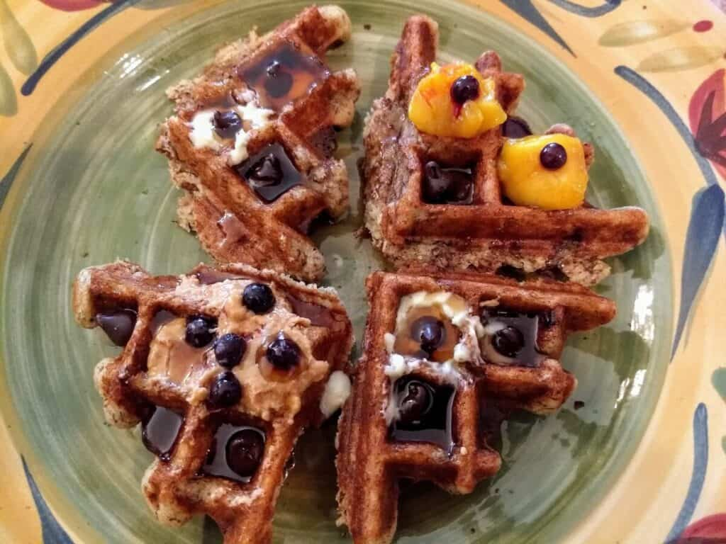 vegan waffle blueberries maple syrup 2
