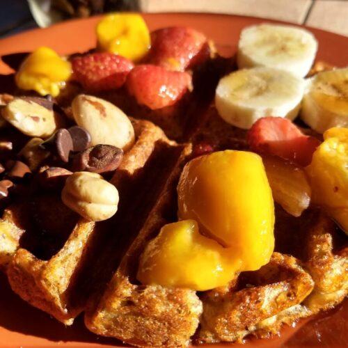 vegan waffle mangoes sunlight