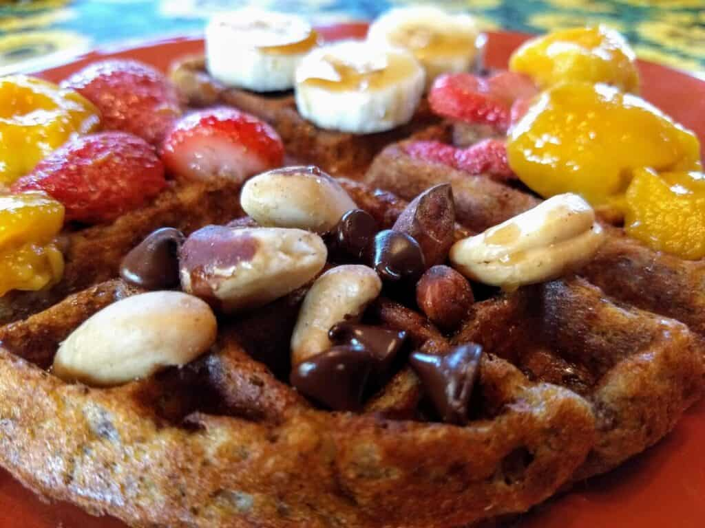 vegan waffle nuts chocolate chips fruit